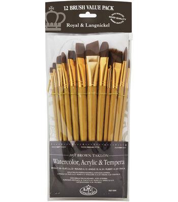 Taklon Flat Brush Variety Pack 12 Pack-Flat