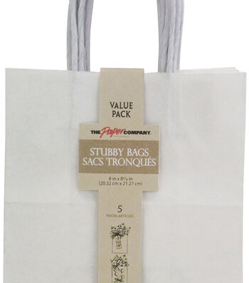 The Paper Company Stubby 5 pk Bags-White
