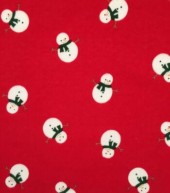 "Doodles Christmas Interlock Cotton Fabric 57""-Red Snowman"