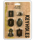 Tim Holtz Idea-Ology Keyholes Fasteners Antique Metallic