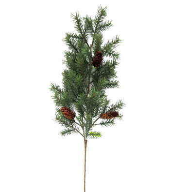 Blooming Holiday Christmas Angel Pine & Pinecone Spray-Green & Brown