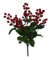 Blooming Holiday Christmas 18'' Glitter Berry Spray-Red, , hi-res