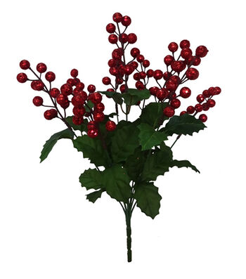 Blooming Holiday Christmas 18'' Glitter Berry Spray-Red
