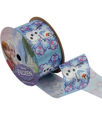 """Frozen Ribbon 1-1/2""""x9'-Olaf Snowflake"""