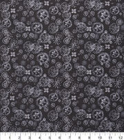 "Keepsake Calico™ Cotton Fabric 43""-Spiral Flowers Black, , hi-res"