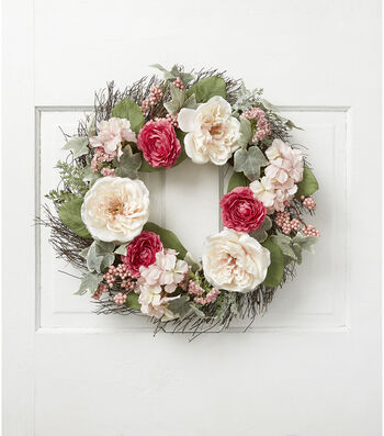 Fresh Picked Spring 22'' Peony, Berry, Hydrangea & Twig Wreath