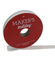 Maker's Holiday Christmas Velvet Ribbon 3/8''x9'-White, , hi-res