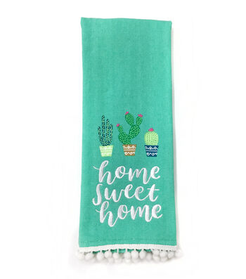 Cactus 16''x28'' French Terry Towel-Home Sweet Home