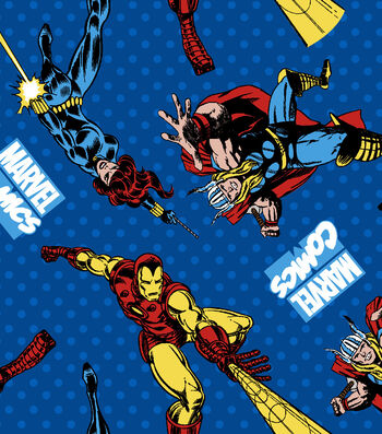 Marvel Comics™ Avengers Flannel Fabric 42''-Retro Comics Power Up