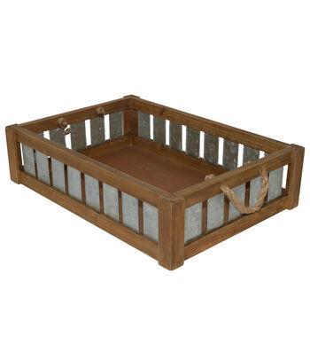 Farm Storage Wood Tray with Slats