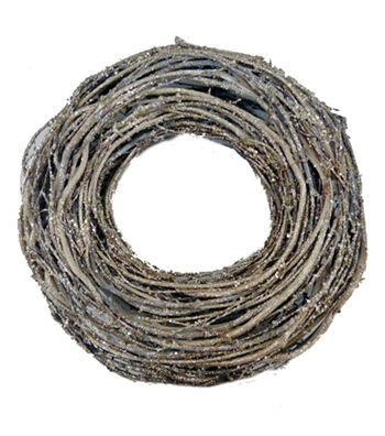 Blooming Holiday Christmas 13'' Glittered Twig Wreath-Brown