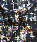 Simply Silky Print Stretch Satin Fabric 58\u0022-Abstract Black Multi