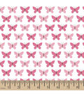 Snuggle Flannel Fabric 42\u0022-Butterfly Set Pink