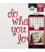 "FolkArt® 12""x12"" Stencil Value Pack 26pk-Phrases, , hi-res"