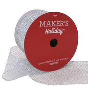 Maker's Holiday Christmas Glitter Mesh Ribbon 4''x40'-Silver, , hi-res