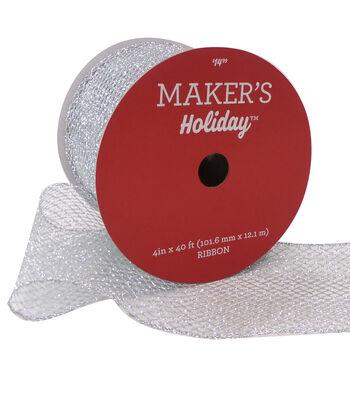 Maker's Holiday Christmas Glitter Mesh Ribbon 4''x40'-Silver