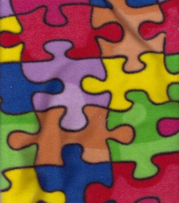 Anti-Pill Fleece Fabric 58''-Jigsaw Puzzle