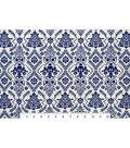 Sportswear Apparel Stretch Twill Fabric 57\u0022-Navy & Ivory Damask