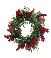 "Blooming Holiday 12"" Eucalyptus Mini Wreath Berry-Red, , hi-res"