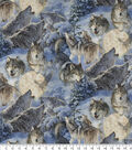 Novelty Cotton Fabric 44\u0027\u0027-Song of The North Wolves