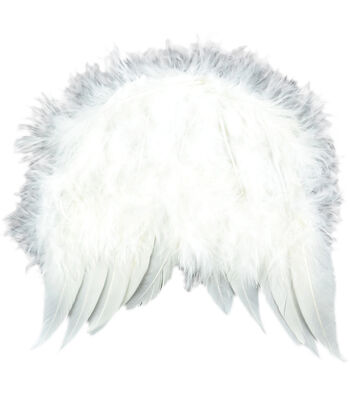 """Feather Angel Wings 6""""X5-1/2""""-White"""