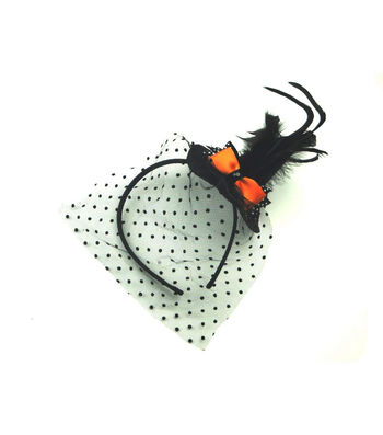 Maker's Halloween Witch Hat Fascinator with Orange Bow & Net
