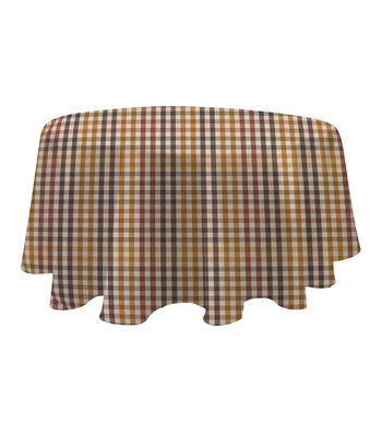 Art of Autumn 60'' Round PEVA Tablecloth-Plaid