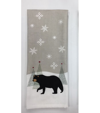 Maker's Holiday Christmas 16''x28'' French Terry Hand Towel-Black Bear