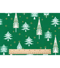 Keepsake Calico Christmas Cotton Fabric-Whimsical Trees On Green
