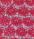 Glitterbug Mesh Fabric 56\u0022-Embroidered Floral Pink