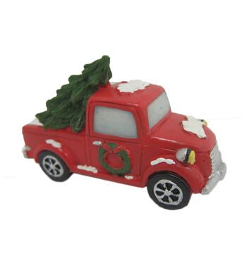 Maker's Holiday Christmas Littles Resin Red Snow Truck with Tree