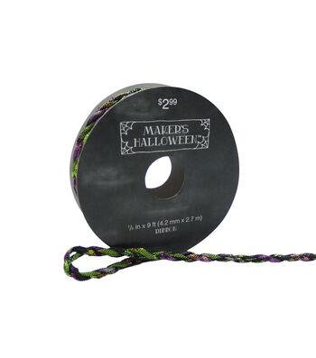 Maker's Halloween Cord Ribbon 1/6''x9'-Multicolor