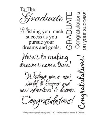 """My Sentiments Exactly Clear Stamps 4""""X6"""" Sheet-Graduation"""