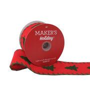 Maker's Holiday Christmas Felt Ribbon 2.5''X15'-Green Tree on Red, , hi-res