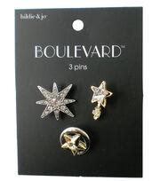 hildie & jo™ Boulevard 3 Pack Gold & Silver Star Pins, , hi-res