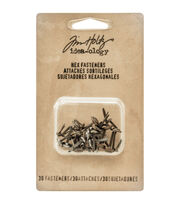 "Tim Holtz Idea-Ology Hex Paper Fasteners .25 To .5"" 30/Pkg-Antique Nickel, Brass & Copper, , hi-res"