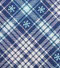 Holiday Showcase™ Christmas Cotton Fabric 43\u0027\u0027-Blue Snowflakes & Blue/White Plaid