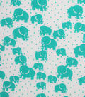 1930\u0027s Cotton Fabric 43\u0022-Dotted Elephants Teal