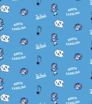 "University of North Carolina Tarheels Cotton Fabric 44""-Blue All Over, , hi-res"