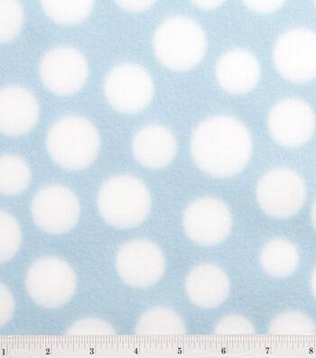 "3 Yard Pre-Cut Blizzard Fleece Fabric 59""-Light Blue & White Dot"