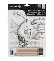 """Reeves Sketching By Number Kit 8""""X12""""-Diskobolus, , hi-res"""