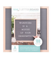 DCWV Home 16''x16'' Oak Gray Letter Board with 1'' White Letters, , hi-res