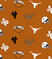 "University of Texas Longhorns Fleece Fabric 58""-Allover Orange, , hi-res"