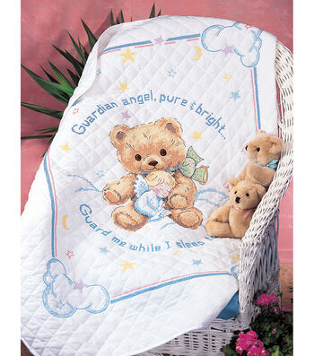 "Cuddly Bear Stamped Cross Stitch Quilt Kit-34""x43"""