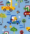 Snuggle Flannel Fabric 42\u0022-Animals In Cars