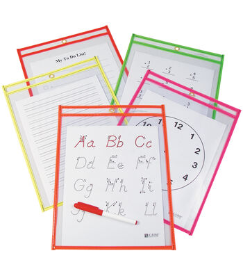 "Reusable Dry Erase Pockets 9""X12""-Assorted Neon Colors"