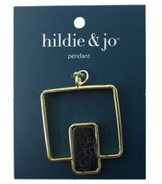 hildie & jo™ Open Square Gold Pendant-Black Rectangular Stone, , hi-res