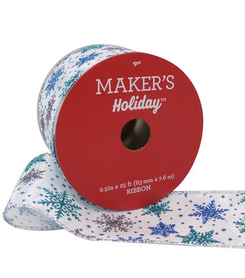 Maker's Holiday Christmas Ribbon 2.5''X25'-Multi Blue Glitter Snowflakes