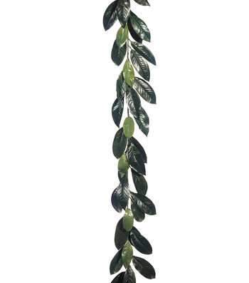 Bloom Room 6' Magnolia Leaf Garland with 44 Leaves-Green