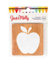 American Crafts™ Jack & Molly Sticky Note-White Apple & Wood Print, , hi-res